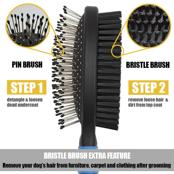 BV Pet Dog and Cat Hair Grooming Brush and Comb, 2 In 1 Bristle and Pin